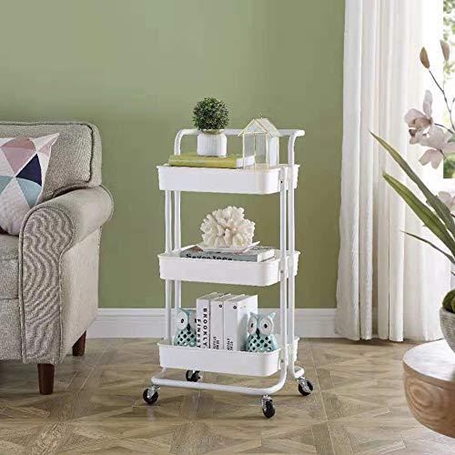 Eenvoudige Planken kunnen worden verplaatst met wielen, van vloer tot plafond toiletartikelen, Planken, 3 Tier Shelf (Color : White)