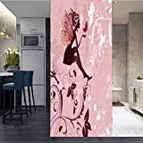ViLJe No Glue Anti-UV Privacy Frosted Static Cling Window Film Glass Sticker, Romantic Angelic but, Non Adhesive Heat Control Anti UV Window Sticker for Office and Home Decorative W23.6 x L78.7 Inch