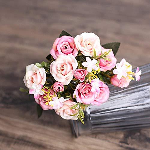 Sonze Simulación de Flor de Seda Rosa Rosa, Flor de decoración del hogar pos-A_5Pcs,Ramo de Flores Artificiales,decoración, centros de Mesa