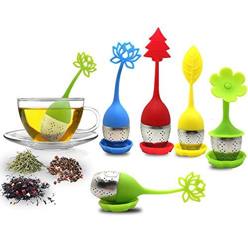 TEE-EI mit Abtropfschale im lieferumfang enthalten 5Stück, sourceton Silikon Griff Edelstahl Sieb Filter losen Tee Steiler–Beste Tee-Ei für Kräutertee, dass verwendet in Tee, Tassen und Teekannen