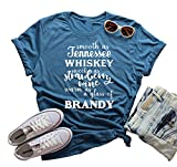 Smooth As Tennessee Whiskey Crew Neck Tshirt Summer Country Music Casual Tops Size L (Blue)