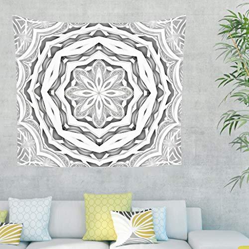 Niersensea Tapiz de pared con diseño de mandala, flores, manta de picnic, manta de playa, dormitorio, playa, bufanda, manta, manta blanca, 200 x 150 cm