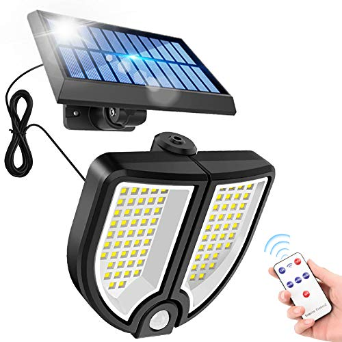 Lámpara solar exterior con detector de movimiento, 90 LED separable, panel solar proyector, impermeable IP65, luz solar exterior, impermeable, cable de 5 m, para jardín, almacén, entrada