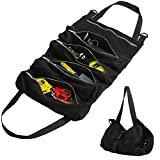 NEX Tool Roll, Multi-Purpose Super Roll Tool Roll Up Bag Wrench Roll Storage Pouch Organizer with 5 Zippered Pockets