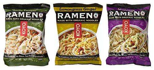 Koyo Vegan Organic Noodle Ramen 3 Flavor 9 Bag Variety Bundle: (3) Garlic Pepper, (3) Lemongrass Ginger, and (3) Mushroom, 2-2.1 Oz Ea (9 Tot)