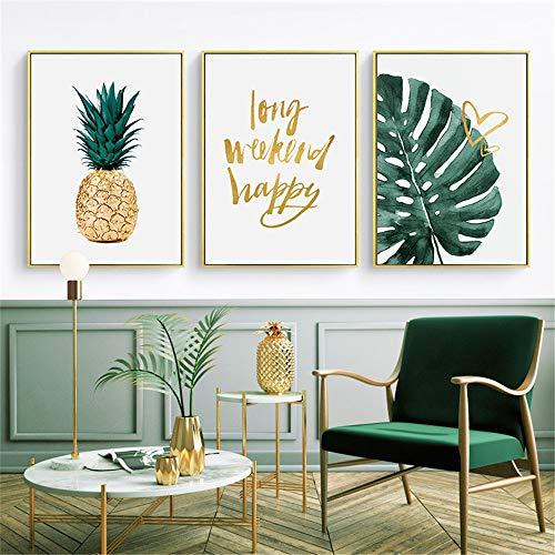 Poster & Drucke 3 Panels Leinwand Wandkunst für Unterrichtsstudium Wohnzimmer Home Decor Green Leaf Pflanzen Malen Sprichwort Cardstock Kunstdruck Für Kinderzimmerdekor