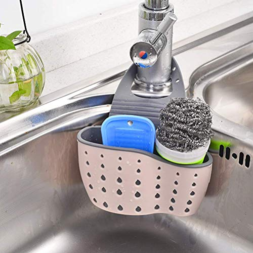 Svampställ diskbänk kran sida caddy tvål diskborste förvaringslåda, används för kök och badrum organisation förvaringskorg med sanitetslåda och justerbar rem, rosa, 22 * ??13 * 5,5 cm QuXiaoMo