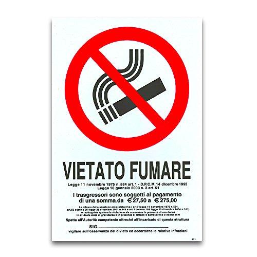CARTELLO TARGA VIETATO FUMARE DIVIETO SICUREZZA SEGNALETICA PVC 20 X 30 CM