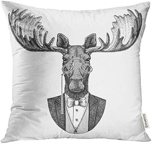 Throw Pillow Cover Print Home Sofa Decorativo 18'x18' Funda de almohada Funda Cuadrada Cremallera Bow Moose Elk Hipster Animal para tatuaje Insignia Parche Corbata Poliéster Home Sofa Funda decorativ