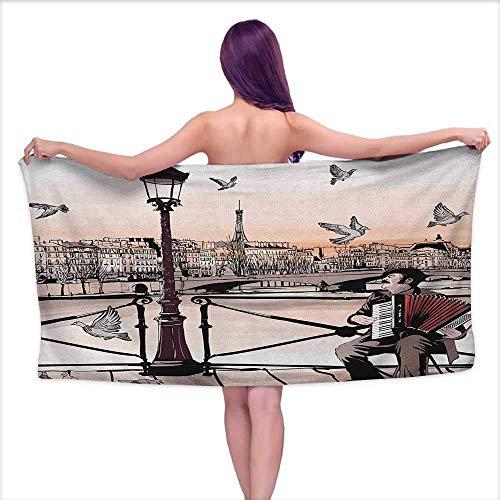 GABRI Tapis de Bain Tapis de Bain Musique, Accordéoniste Jouant Paris Street Urbain Européen Ville Célèbre Panorama Scène Graphique, Peach Brown