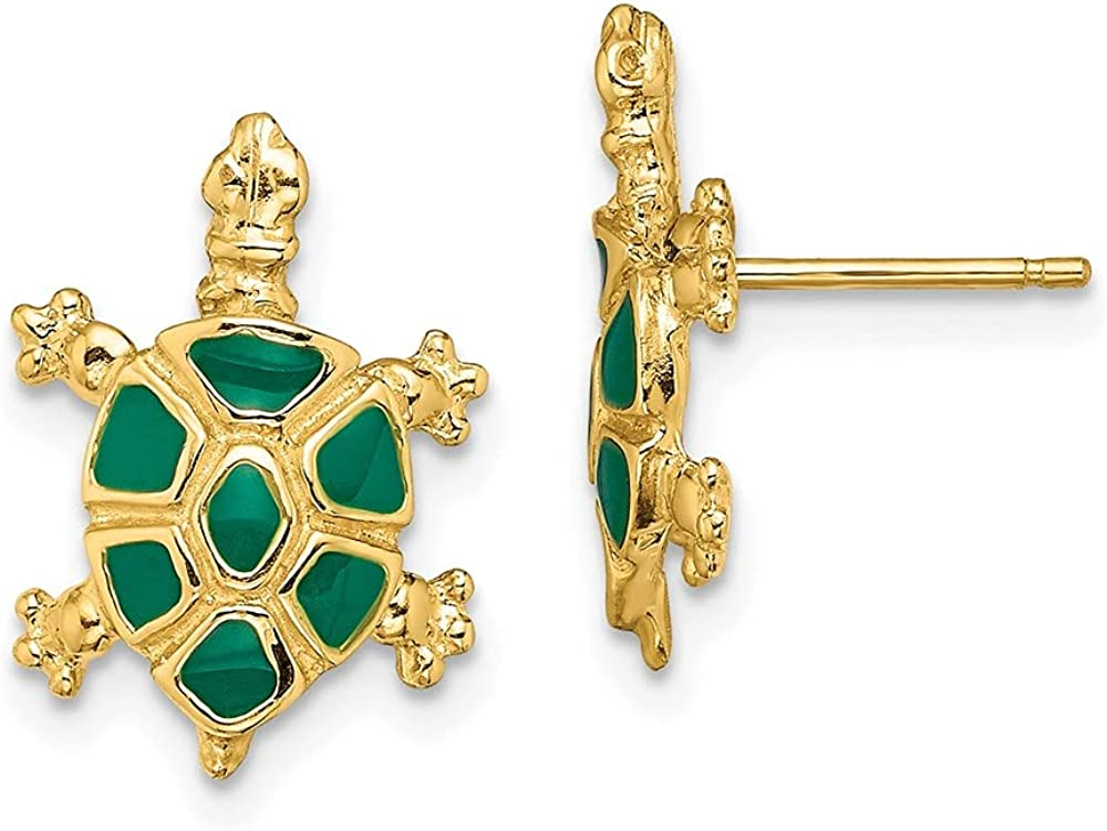 14k Yellow Gold Land Turtle Green Enamel Sea Shell Mermaid Nautical Jewelry Post Stud Earrings Animal Reptile Fine Jewelry For Women Gifts For Her