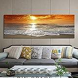 Poster e stampe di paesaggi moderni Wall Art Canvas Painting Sunrise Landscape at Sea Quadri decorativi per la decorazione del soggiorno 50x150 CM (sans cadre)
