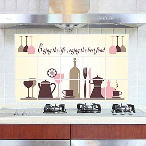 Cucina piano cottura cappa olio adesivi da muro autoadesivo impermeabile,Vino 75 * 45cm