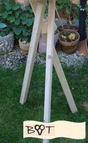 Vogelhausständer xxl, Ständer für Vogelhäuser, groß Dreibein Ständer für Vogel-Futterhäuser Natur Holz unbehandelt - 3