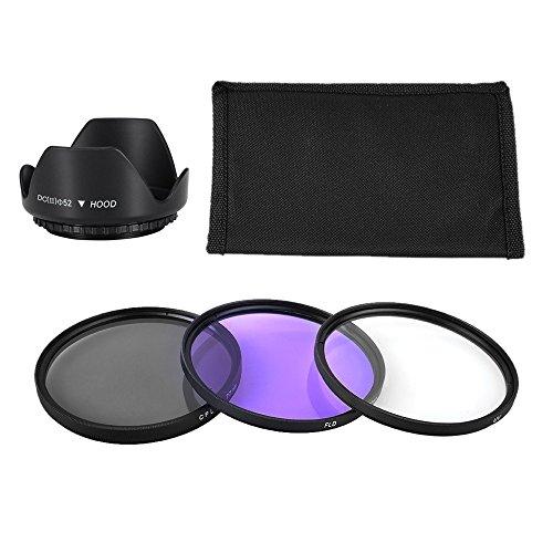 BPS 52mm Filtro Protector UV + CPL + FLD + Parasol para Objetivo + Bolsa de Transporte–Juego de filtros para Canon Nikon Sony Olympus y los Otros...
