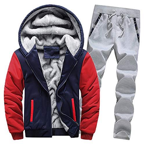 Aiserkly Herren Freizeitanzug Sportanzug Trainingsanzug Hoodie+Sporthose Winter Camouflage Warme Fleece Tracksuit Streetwear Zwei-Teilig Outwear Coat Pullover Top Hosen Sets X-C-Rot 5XL
