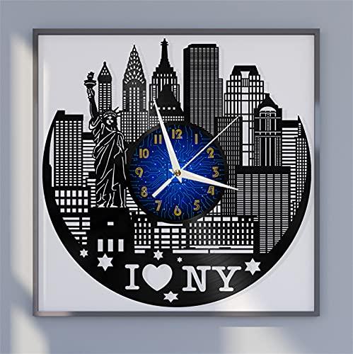 Reloj de Pared con Disco de Vinilo I Love New York, Reloj de Vinilo para Cocina, hogar, Sala de Estar, Dormitorio, Escuela (B), Sala de Estar, Cocina, Hombres y Mujeres