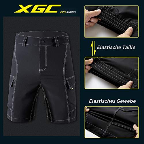 XGC Herren Radhose Radlerhose Fahrradhose,Atmungsaktiv Sports MTB Kurz Hose für Männer (Black, S) - 4