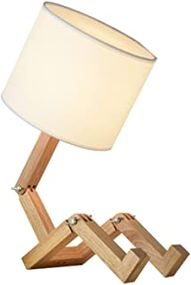 Light Fixture Wood People Shape Table Lamp Reading Eye Protection Bedroom Bedside Lamp (Can Be Deformed)