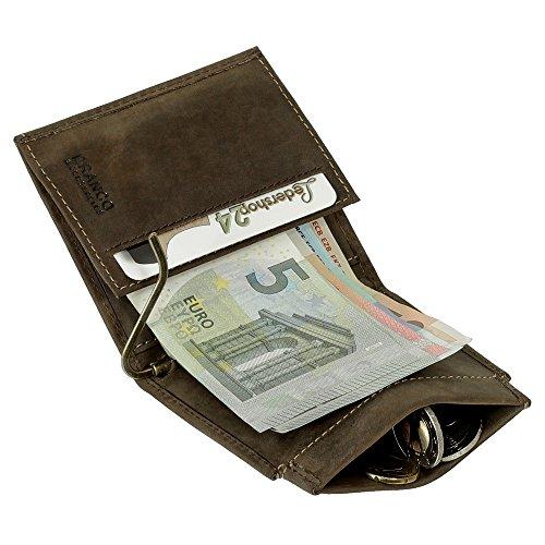 Sportliche Leder Dollarclip Herren Geldbörse Geldclip Geldbeutel mit Geldklammer Portemonnaie braun