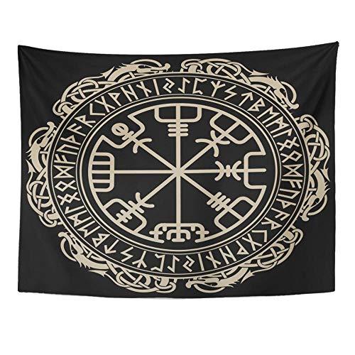 Brújula rúnica mágica con diseño vikingo celta negro en el círculo de runas y dragones nórdicos, tapiz de tatuaje, decoración del hogar, 150x100cm