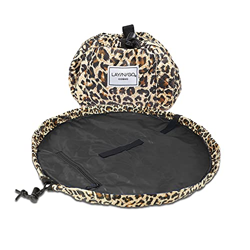 Lay-n-Go Cosmo Drawstring Makeup Organizer Cosmetic & Toiletry Bag for Travel, and Daily Use with a Durable Patented Design, 20 inch, Leopard