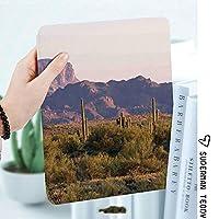 IPadケース スマートカバー アイパッドケース タブレットカバー アイパッド第四世代 第三世代 サボテンと春の夕方の山のアリオゾナ砂漠の風景