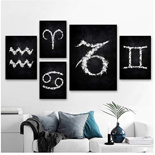 Twaalf sterrenbeelden symbool Nordic Art Canvas Poster Home Wall Decor-30x40x2Pcscm 40x50x2Pcscm 50x70cmgeen frame