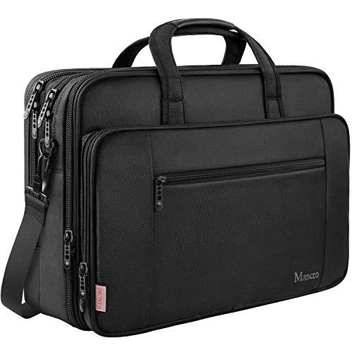 17 Inch Laptop Briefcase for Men, Soft Business Bag for Women, Big Expandable Computer Shoulder Bag, Carry on Large Laptop Case, Waterproof, Mancro Office Bag Fits 17 15.6 Inch Laptop, Black