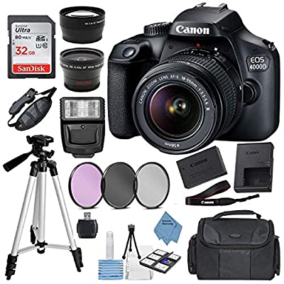 Canon EOS 4000D Digital SLR Camera w/ 18-55MM DC III Lens Kit (Black) with Accessory Bundle, Package Includes: SanDisk 32GB Card + DSLR Bag + 50?? Tripod+Extreme Elec Cloth (International Model)