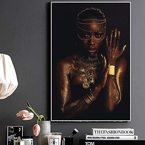 QAZEDC Decoratieve schilderijen Foto's Prints Poster Canvas Schilderij Zwart en Goud Vrouw Ketting Wandkunst Huisdecoratie Omlijst 60x80cm