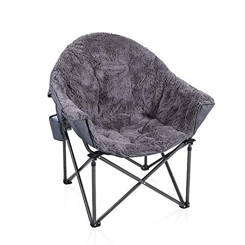 ALPHA CAMP Moonchair Gepolsterter Campingstuhl mit Plüsch faltbar Campingsessel mit Seitenhalt Klappstuhl Gartenstuhl mit großer Sitzfläche