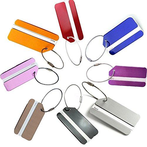 NDHT Aluminum Air Plane Pattern Travel Luggage Bag Tags,Baggage Handbag ID Tag Name Card Holder with Key Ring,8 Pcs