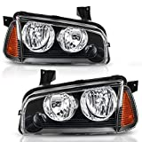 DWVO Headlight Assembly Fit for 2006-2010 Dodge Charger Black Housing Amber Reflector (Driver & Passenger Side)