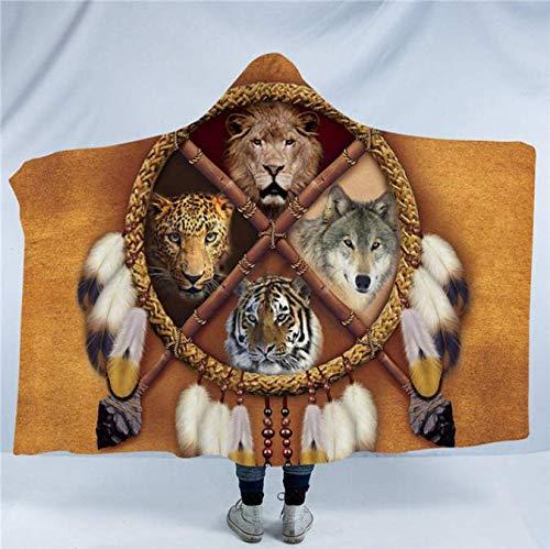 RKZM Dream Catcher Manta para Adultos Oso con Capucha Tigre Suave y cómoda Sherpa Manta portátil Tribal Textiles para el hogar 150 * 200Cm