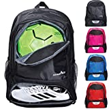 Athletico Jugend Fußball Tasche - Rucksack & Taschen für Basketball, Volleyball & Fußball - für Kinder, Jugendliche, Jungen, Mädchen - inkl. separatem Cleat und Ballfach, Schwarz