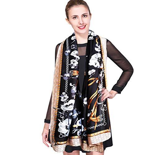 Bufanda de Seda Mujer Larga Pañuelos de Seda Mujer Fulares Chales Estolas Pañuelos de Protección Solar Blanco Pañuelos de Seda Cuello Pañuelos para la cabeza