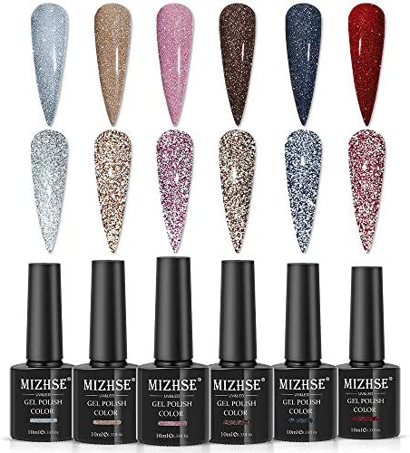 MIZHSE Reflective Diamond Gel Nail Polish Sliver Glitter Gel Polish Set Sparkly Shiny Gel Nail product image