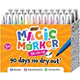 BIC Magic Marker Brush Tip, Assorted Colors, 36-Count