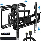 BLUE STONE Full Motion TV Wall Mount Bracket Dual Swivel Articulating Arms with Sliding for TV Centering for Most 32-65inch to 88lbs for Flat Screen,LED,4K,Curved TVs with VESA 400x400mm and 16' Studs