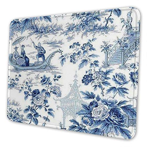 Gaming Mouse Pad Chinese Style Powder Blue Chinoiserie Toile Mouse Mats Anti-Slip Rubber Base Mousepad Mat for Computers Laptop Office Home 7 X 8.6 in