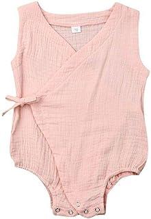 JBEELATE Newborn Baby Boys Girls Summer Romper Cotton Linen Kimono Bodysuit Sleeveless Pajamas Sunsuit