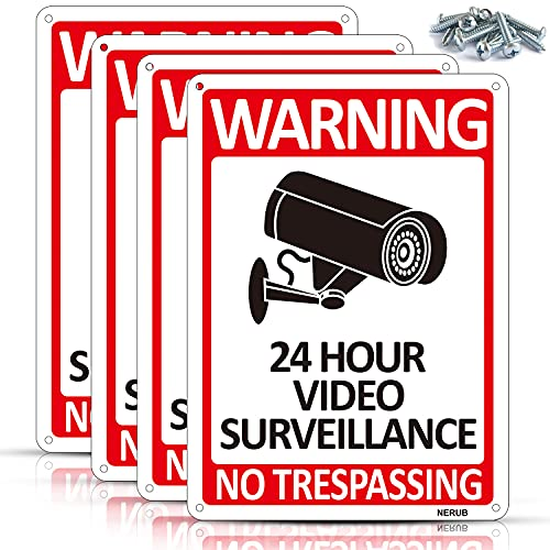 4-Pack 24 Hour Video Surveillance Sign, No Trespassing Aluminum Security Warning Sign, Indoor or Outdoor Use for CCTV Security Camera Reflective UV Protected Waterproof