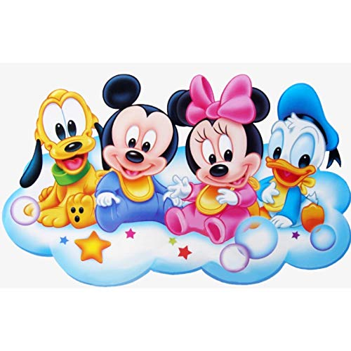 Kit de pintura de diamante 5D por número, para pintar punto de cruz, con diamantes de imitación, para manualidades, decoración de pared, regalo de 30 x 40 cm (Mickey Mouse y Donald Duck)