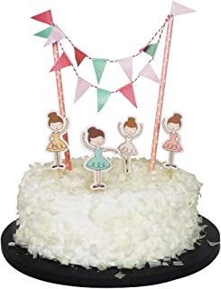 Sunny ZX Ballerina Cake Topper Party Supplies Baby Girl Shower Favors Birthday Cake Bunting Flag Topper Ballerina Toothpicks Wrap Decorations Kits Ballet Dance