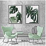 ZHANGSHUAIFFBH Leinwand Malerei Monstera Wandkunst Green Leaf Poster und Drucke Bilder für Wohnzimmer Decoracion Salon 60x80cm (23,6'x31.5) x2 Kein Rahmen