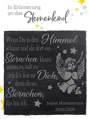 The Art of Stone Sternenkind Trost Schieferplatte - 9x9 cm Trauerspruch u. Namensgravur - Wenn Duin den Himmel schaust.- Trauergeschenk Beileidsbekundung Grabschmuck Mutmacher Trostspender