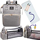 3 in 1 Diaper Bag Backpack with Toy Bar – Elegant, Multifunctional Travel Bag, Foldable Baby Bassinet, Waterproof Pad, Mommy Bag with Multiple Pockets, Bottle Holders and Diaper Storage, Gray
