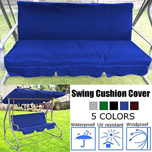 ZQEDY Funda de cojín para patio con columpio, impermeable, repuesto para 3 asientos, silla de columpio para todo tipo de clima, 152 x 152 x 4 cm, No nulo, azul, Tamaño libre