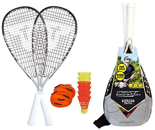 Talbot-Torro Speed-Badminton Set Speed 7700, 2 kraftvolle Graphit-Composite Rackets, 6 windstabile Federbälle, Court-Liniensystem zur Spielfeldmarkierung, im trendigen Rucksack, verschiedene Designs